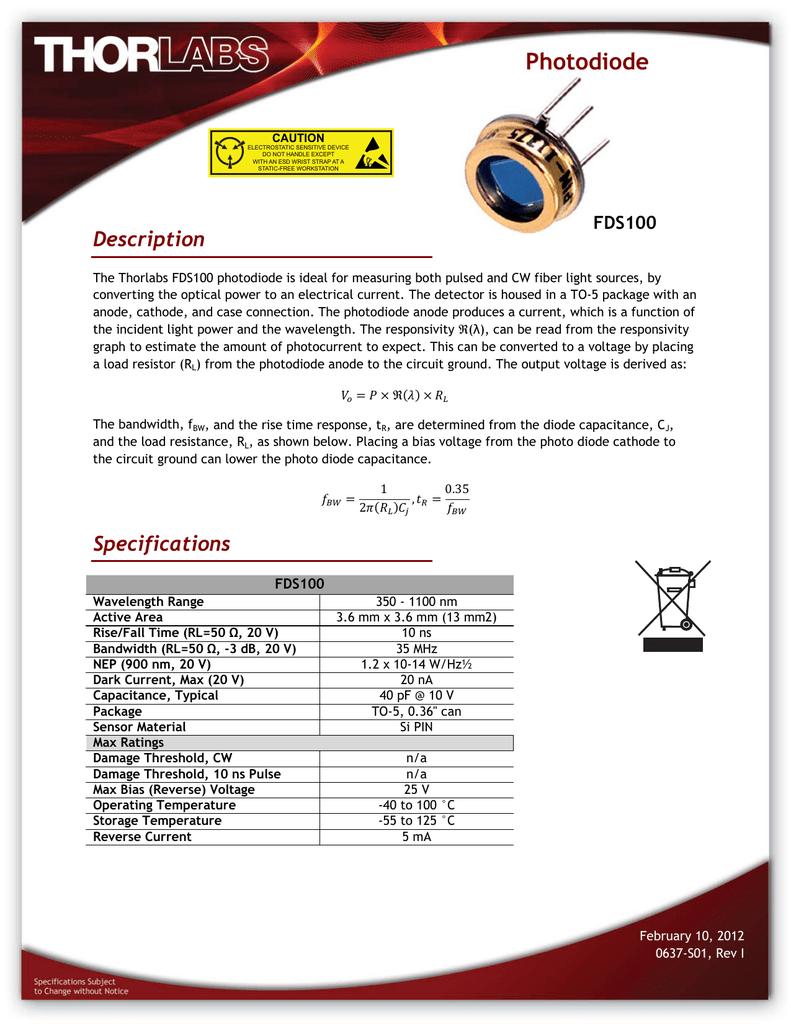 Thorlabs FDS100 PD.pdf   Manualzz